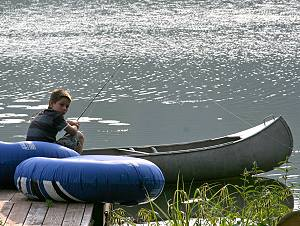 fishing from the canoe